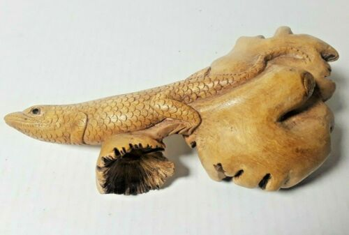 "Vintage Hand Carved Wooden Lizard Folk Art Burlwood Carving 8"" Long"