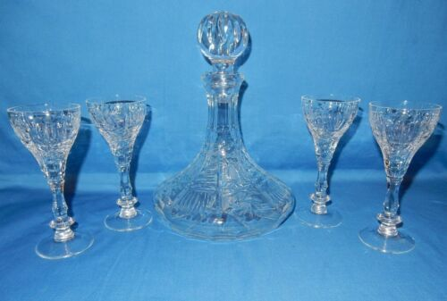 Antique Crystal Ship Ships Decanter with Stopper & 4 Goblets set