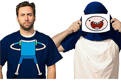 Official Adventure Time With Finn And Jake Reversible Mask Costume Adult T-Shirt (Jake And Finn Costumes)