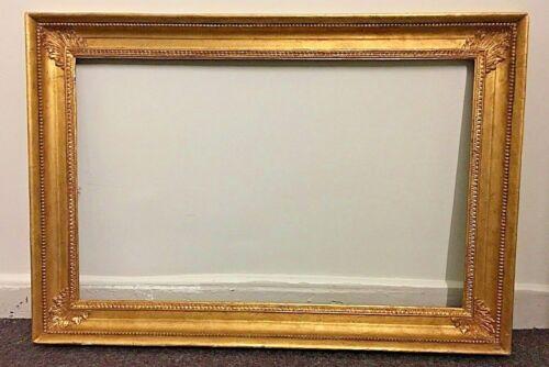 """Large 32"""" X 46"""" Antique Frame 19th C Empire Landscape Cove Acanthus Wood Gold"""