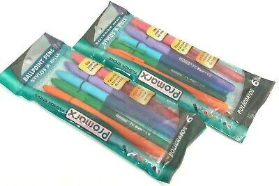 2 Color Ballpoint Multi Pen - 2 PACKS 12 BALLPOINT PENS Promarx® TC Ball ™ MULTI COLORED PINK GREEN PURPLE