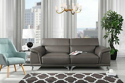 Modern Living Room Sofa with Adjustable Headrest (Grey)