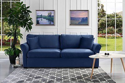 Modern Standard Couch, Ultra Comfortable Velvet Living Room Sofa, Navy - Ultra Modern Sofas