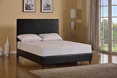 leather bed frame upholstered platform black headboard wood twin full queen size