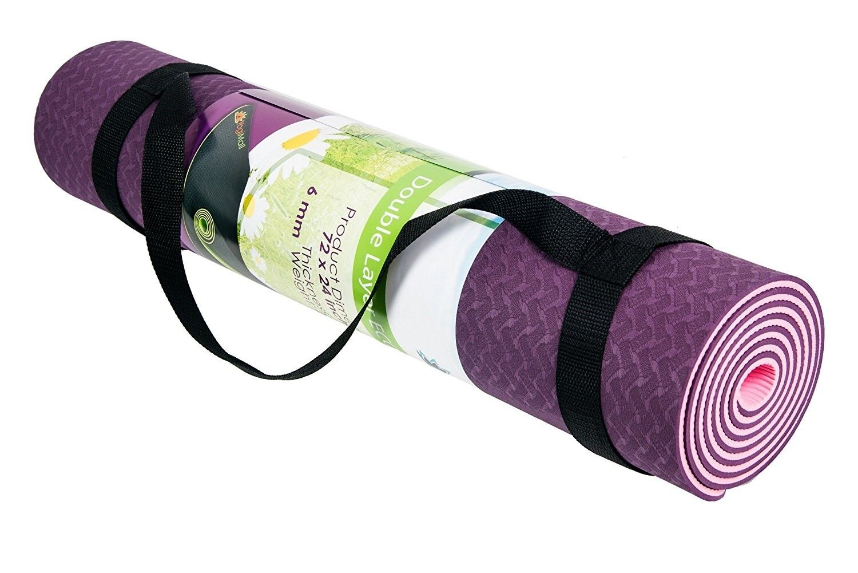 Premium 6mm Yoga Mat Reversible TPE Foam Non Slip w Carry St