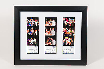 Photo Booth Picture Frame for 3 photo booth strips white mat 8x10, no frame