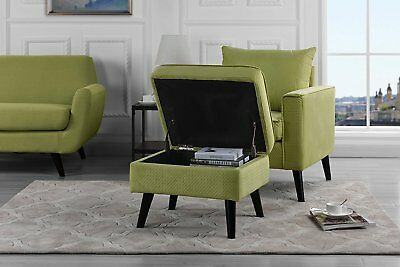 Mid Century Brush Microfiber Accent Chair Armchair with Ottoman Storage, Green
