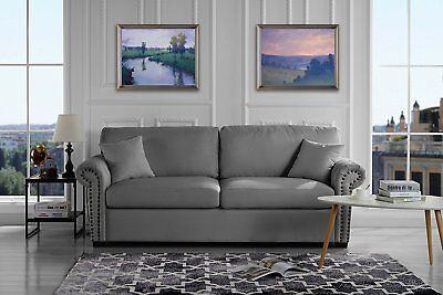 - Classic Scroll Arm Linen Living Room Sofa with Nailhead Trim (Light Grey)
