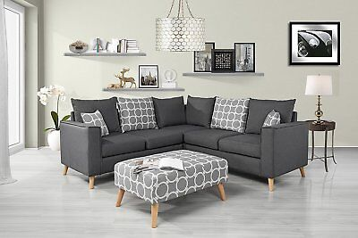Modern Living Room Linen Fabric Sectional Sofa, L Shape Couch with Ottoman...
