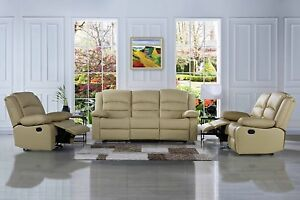 Traditional Classic Reclining Sofa Set - Real Leather - Double Recliner Beige