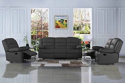 Traditional Classic 3 PC Reclining Sofa Set Real Leather - Double Recliner, Grey ()