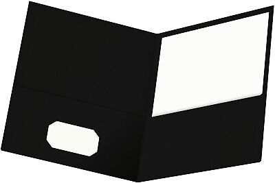 Oxford Twin-pocket Folders Textured Paper Letter Size Black Holds 100 Sheets