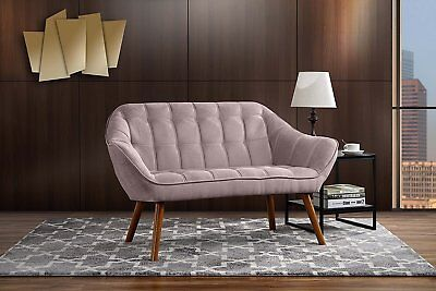 - Vintage Sofa Modern Tufted Fabric Loveseat Couch Mid Century Wood Legs, Pink