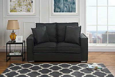 Modern Loft Lounge Linen Fabric Sofa, Small Space Loveseat Couch (Dark Grey)