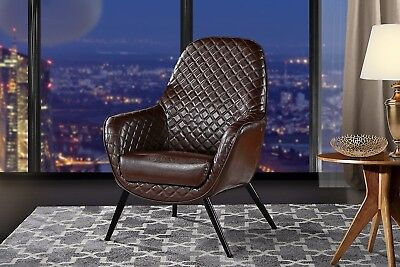 Chair for Living Room, Faux Leather Arm Chair w/ Diamond Stitch, Dark Brown Dark Brown Arm Chair
