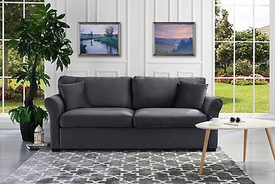 Living Room Traditional Sofa (Modern Standard Sofa Comfortable Velvet Fabric Living Room Couch, Grey )