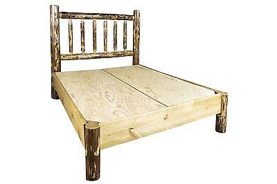 LOG Platform Beds Amish Made Queen Bed Frame Montana Cabin Furniture