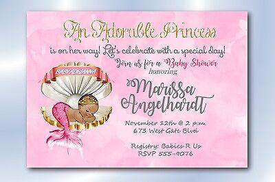 Girl Baby Shower Invitations Personalized Fairytale Princess Mermaid Invitation