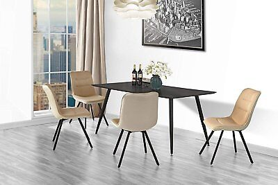 Set of 2 Dining Chairs Fabric Cushion Kitchen Chairs, Metal Legs (Light (2 Dining Chairs)