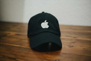 Apple Computer Logo Black Dad Hat Adult Embroidered Unstructured Low Profile Cap