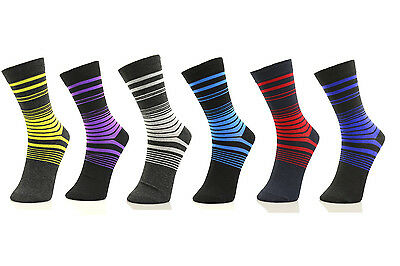 6 Pairs Men Long Socks Lot Fashion Color Stripe Crew Stylish Pack