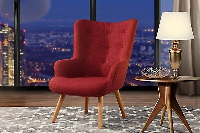 Red Intensity Chair for Living Room, Upholstered Linen Arm Chairs, Tufted Button