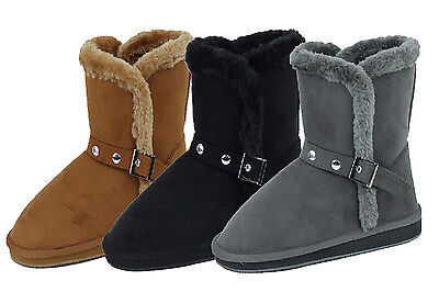 - New Women's Winter Boots Faux Suede Shearling Buckle Warm Fur Ankle Shoes, Sizes