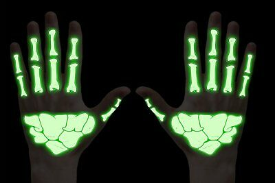 Glow in the Dark Skeleton Bones Temporary Tattoos Arms Hands Halloween Costume
