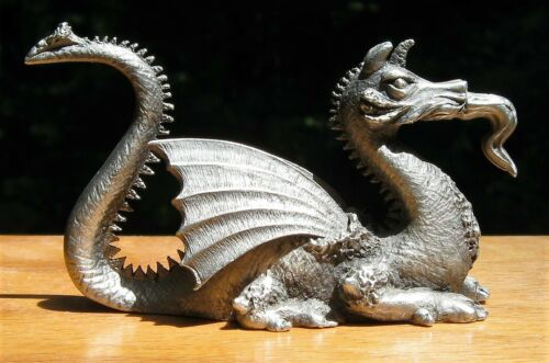 Vintage Pewter Crouching Dragon Figurine Spoontiques PP508 made in 1980