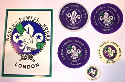 Baden-Powell House Hostel Collection: 3 Badges, Pin, Magnet, and Postcard - MINT