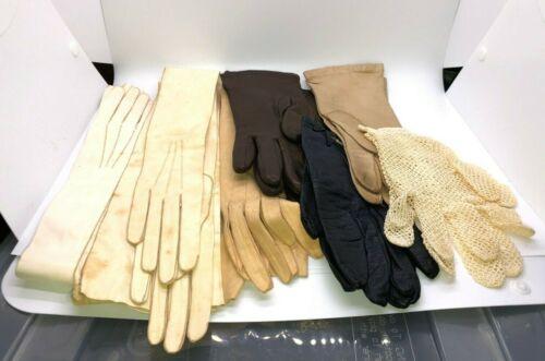 7 Antique/Vint Gloves - 3 Long Kidskin, 1 Lace, 3 Short Leather Size 6,6.5,8,L