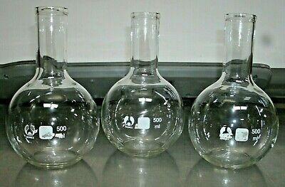 Lot Of 3-500 Ml Bomex Flask-round Wflat Bottom 7 Height-american Edu-new