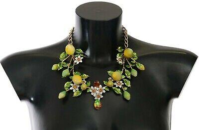 NEW $1800 DOLCE & GABBANA Necklace Gold Lemon Fruit Crystal Statement Chain