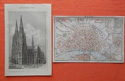 Stadtplan historisch Köln 1895  Sülz Nippes Ehrenfeld Holzstich Kölner Dom 1895
