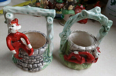 Lot (2) Vintage Ceramic Pixie Elf  Posing by a Wishing Well Planter JAPAN