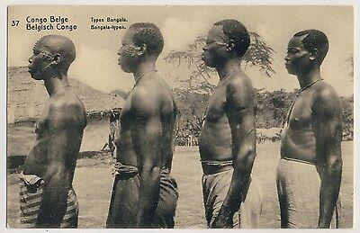 BELGISCH CONGO BANGALA M NNER MEN W SCAR TATTOO AFRICA PK GANZSACHE UM 1920