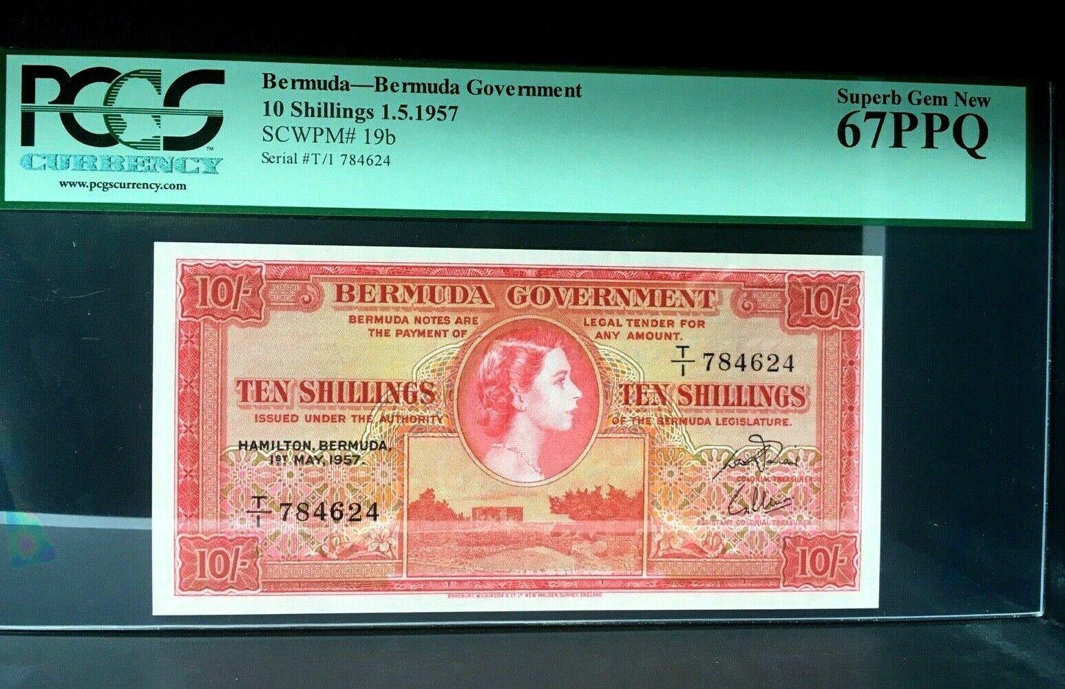 BERMUDA 10 SCHILLINGS 1957 PCGS 67EPQ