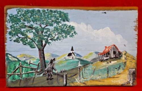 Appalachian Country Decor Folk Art Painting on Wood Cabin Church Signed NICE !!!