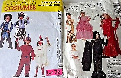 Cowboy Halloween Costume Patterns (2 McCalls Sewing Patterns Childs Halloween Costume Princess Cowboy Indian)
