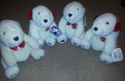 "Coca Cola Bears Plush 10"" Set of Four (4) New with tags, ""1993"" & ""1996"""