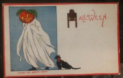 1916 Jacksonville IL Usa Picture Postcard PPC  Cover Halloween When Ghosts Walks