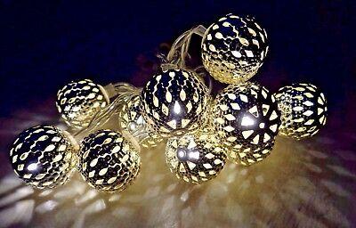 Dekorative Beleuchtung (10 LED Lichterketten Dekorative Metallkugeln Beleuchtung)