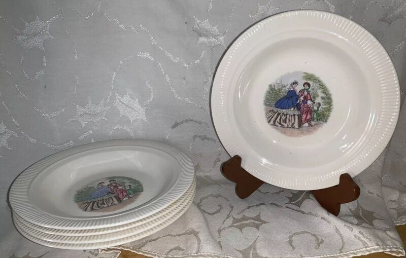 "Vtg Godey Prints 2 Women & Child 8 1/4"" Ribbed Bowls By Salem China Co Set of 5"