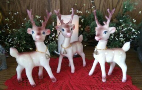3 Vtg Plastic DEER Antlers Buck Christmas Display Made in Hong Kong with BELL!