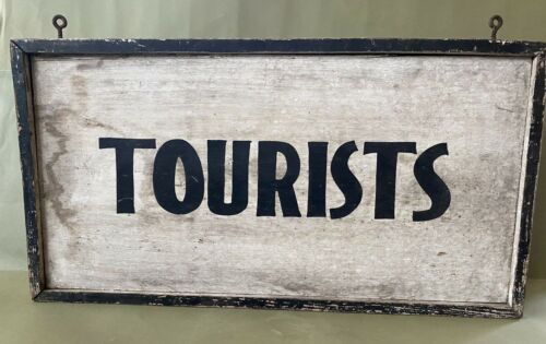 Nice Original Double Sided Hand Painted Antique Folk Art Wood Tourists Sign