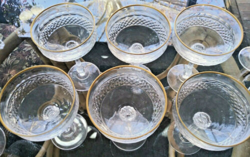 Set of 6 Vintage Mikasa Gold Crown Crystal Champagne Saucers / Cocktails