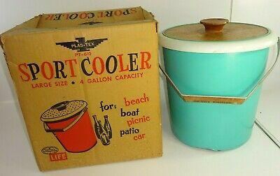 Vintage Plas-Tex Large 4 Gallon Sport Cooler Fiberglass Insulated w Original Box