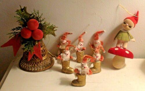 VINTAGE LOT 8 JAPAN FLOCKED BELL MUSHROOM ELF CHENILLE SANTAS CHRISTMAS ORNAMENT