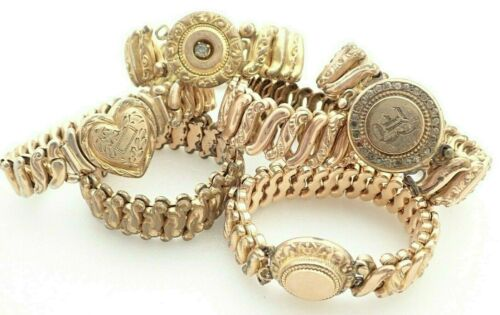 Lot of 6 Antique Gold Filled Expansion Stretch Rhinestone Heart Bracelets 145 gr