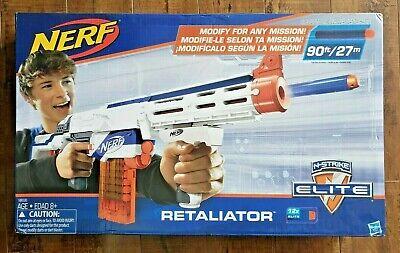 NERF N-Strike Elite RETALIATOR Blaster + Stock + Grip + Barrel + Clip + Darts